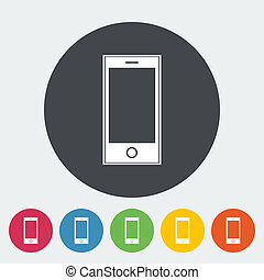 Smartphone single icon. - Smartphone. Single flat icon on...