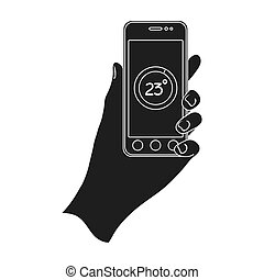 Smartphone, single icon in black style.Smartphone, vector symbol stock illustration web.