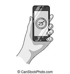 Smartphone, single icon in monochrome style.Smartphone, vector symbol stock illustration web.