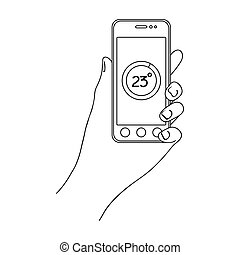 Smartphone, single icon in outline style.Smartphone, vector symbol stock illustration web.