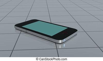 Smartphone slides on tiles