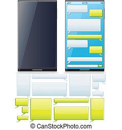 smartphone, sms, チャット, テンプレート