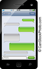 smartphone, sms, conversa, modelo, com, cópia, space.