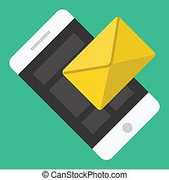 smartphone, sms, e-mail, vektor, oder, ikone