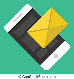 smartphone, sms, email, vecteur, ou, icône