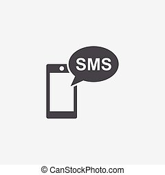 smartphone sms icon, on white background.