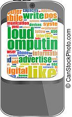 smartphone, socila, média, icônes, application, mots