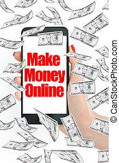 smartphone, soldi, fare, volare, linea, messaggio