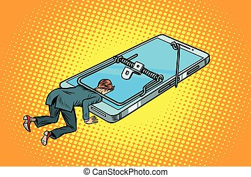 smartphone, souricière, homme, piégé