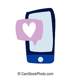 smartphone speech bubble love heart creativity isolated icon design