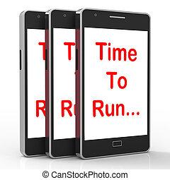 smartphone, springa, medel, kort, tid, hetsa
