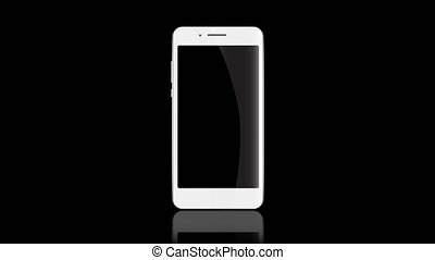 Smartphone static template on black background. White...