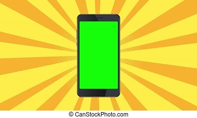 Smartphone static template on yellow burst background. -...