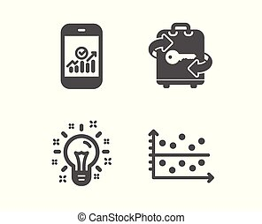 Smartphone statistics, Luggage and Idea icons. Dot plot sign. Mobile business, Baggage locker, Creativity. Vector
