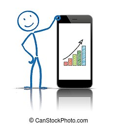 smartphone, stickman, grafico, crescita