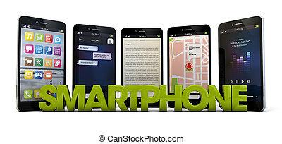 smartphone - render of five smartphones and the text...