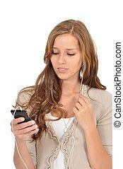 smartphone, studentin, w?hlt, kész, vom, musik