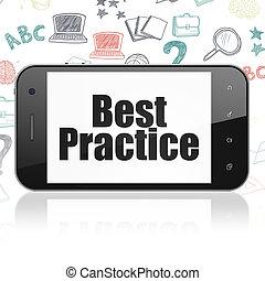 smartphone, studerend , praktijk, concept:, display, best