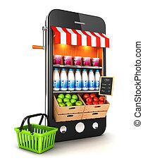 smartphone, supermarché, 3d
