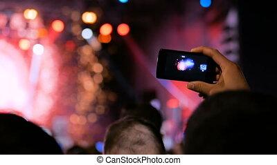 smartphone, sylwetka, koncert, nagranie, żywy, video, siła robocza, muzyka, człowiek