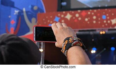 smartphone, sylwetka, koncert, nagranie, żywy, video, siła robocza, muzyka