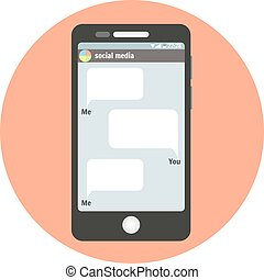 Smartphone symbol with social media bubbles for your text messages