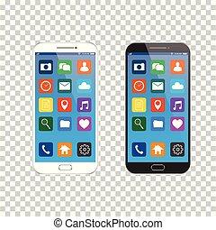 smartphone, téléphone, mobile, moderne, isolé, icons., style., réaliste, vecteur, ui, arrière-plan., nouveau, noir, blanc, transparent, intelligent
