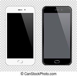 smartphone, téléphones mobiles, mock-up., réaliste, vecteur, téléphone., fond, noir, blanc, transparent