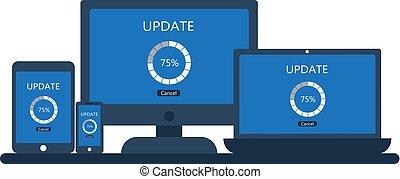 smartphone, tablet, scherm, update, draagbare computer, computer, desktop