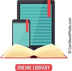 smartphone, tablet, toepassing, computer, lezer, boek
