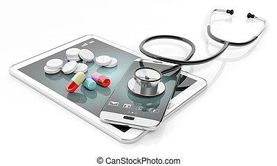 smartphone, tablet, vrijstaand, achtergrond., stethoscope, witte , pillen