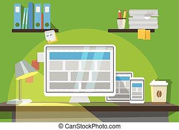 smartphone, tablet, werkende , persoonlijk, moderne, computer, plek, interieur