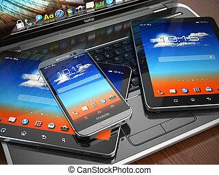 smartphone, tabletta, mozgatható, laptop, pc., devices.