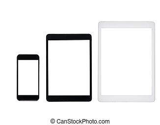 smartphone, tabletta, számítógépek, elszigetelt, árnyékol, állhatatos, tiszta, fehér