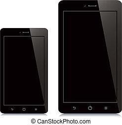 smartphone, tablette, écran, arrière-plan noir, vide, blanc
