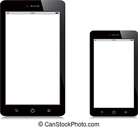 smartphone, tablette, écran, fond, vide, blanc