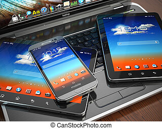 smartphone, tablette, beweglich, laptop, pc., devices.