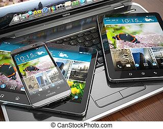 smartphone, tablette, beweglich, laptop, pc., devices.