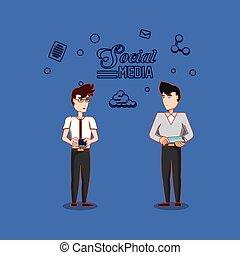 smartphone, tablette, média, deux, social, utilisation, homme