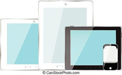 smartphone, tablette, mobile, moderne, isolé, illustration, pc, vecteur, numérique, blanc