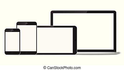 smartphone, tablette, mockup, ordinateur portable, fond, blanc