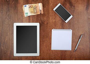 smartphone, tabliczka, pieniądze, górny, notatnik, pieniądze, ekran, pióro, czysty, prospekt., worktop, biały