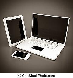 smartphone, tabulka, počítač na klín