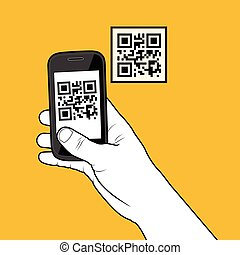 Smartphone taking a QR code - Hand with smartphone taking a...