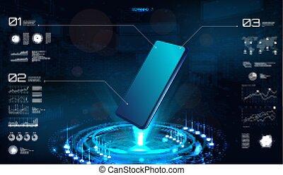 smartphone, technologie, hologramme, vide