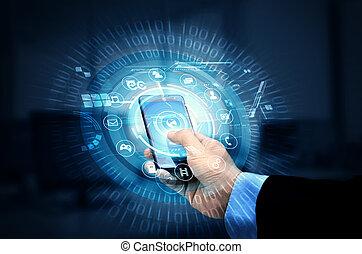 smartphone, technologie, internet