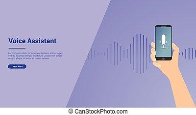 smartphone, technologie, vecteur, voix, site web, atterrissage, gabarit, main, ou, bannière, aide, -, page accueil