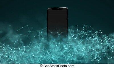 smartphone, technology., nowoczesny, ruchomy, internet.