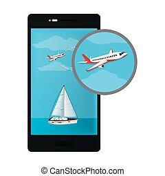smartphone technology with airplane and sailboat transports