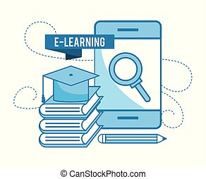 smartphone technology with graduation cap and books